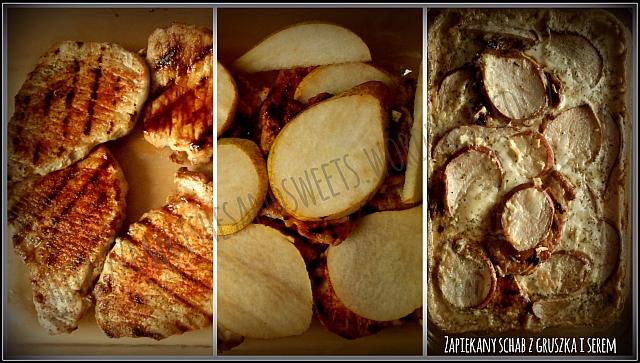 schab z gruszką i serem