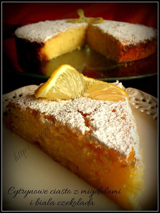 cytrynowe ciasto z migdałami i białą czekoladą