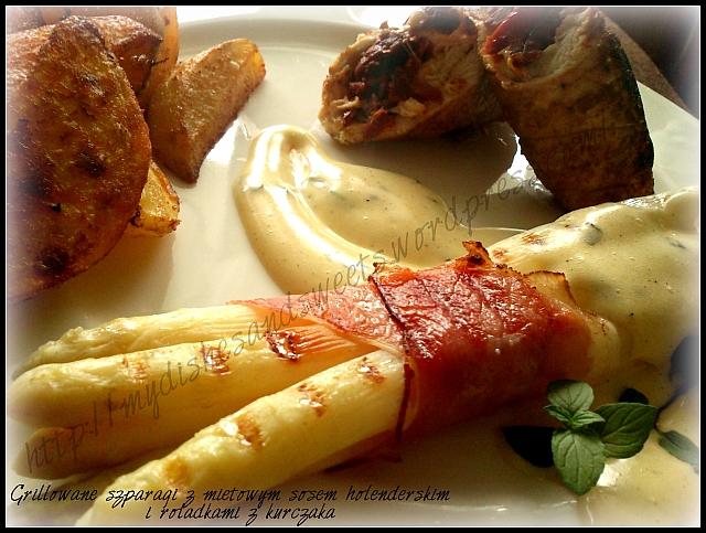 grillowane szparagi w miętowym sosie holenderskim z roladkami z kurczaka